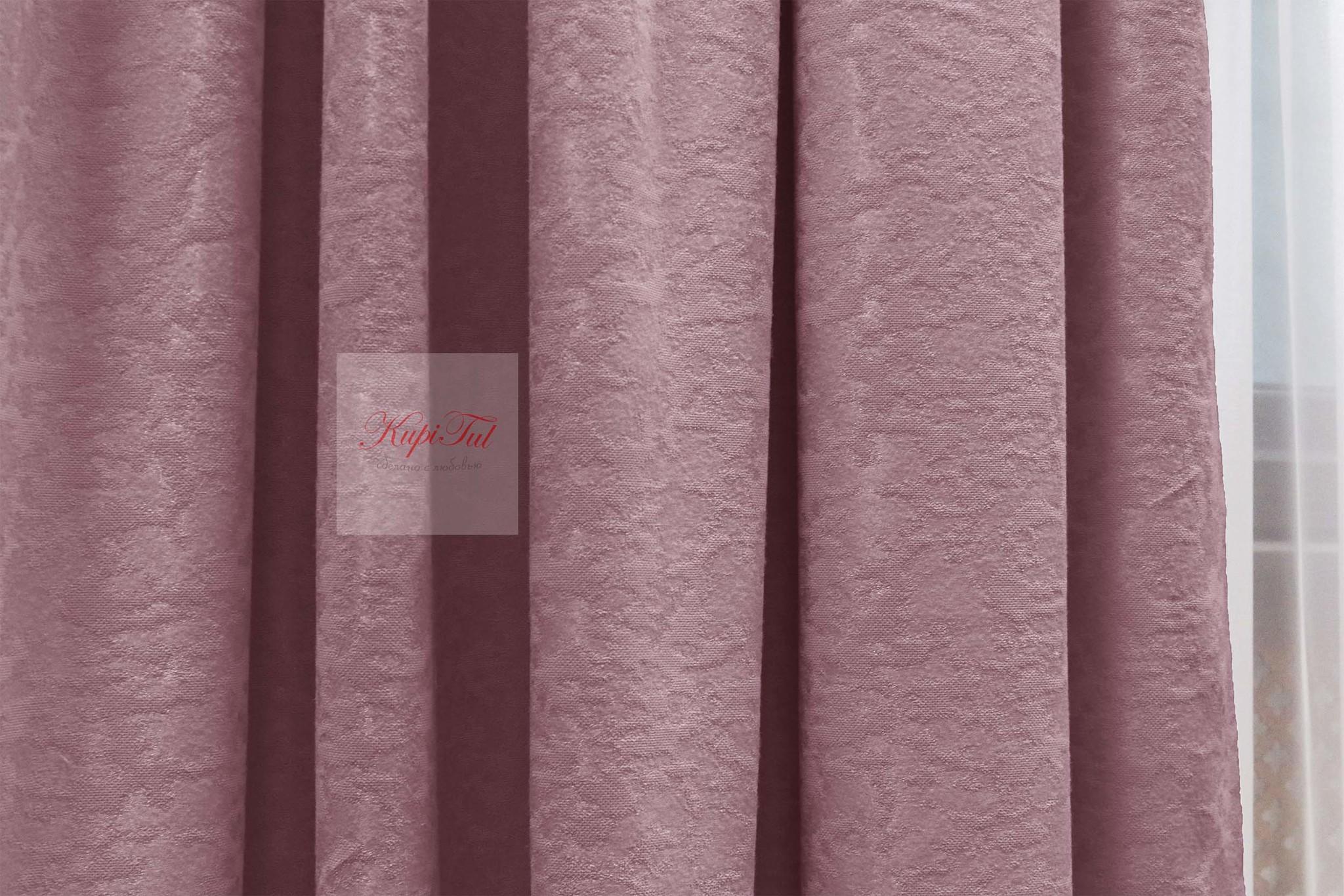 Длинные шторы. Луи (пыльная роза). Шторы из стриженного бархата.
