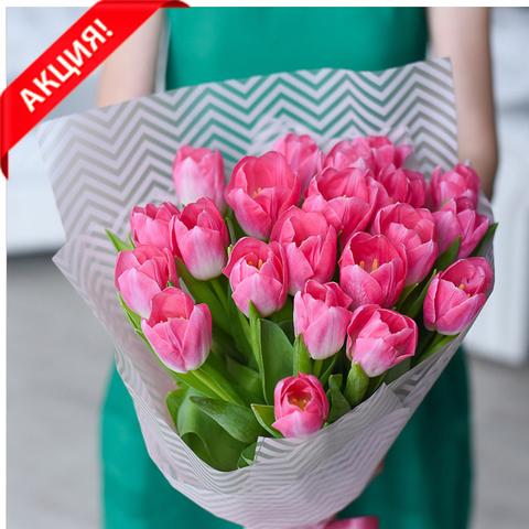 Букет 21 розовый тюльпан