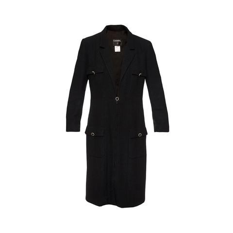 Элегантное шелковое пальто черного цвета от Chanel, 44 размера.
