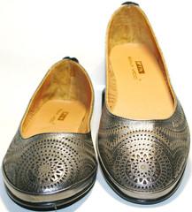 Летняя обувь женская - серебристые балетки Bona Vicci