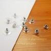 Зажим для пуссет-гвоздиков с прозрачной площадкой 11х7 мм (цвет - серебро), 5 ПАР