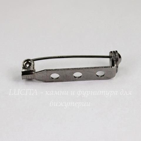Основа для броши с замочком 27х5 мм (цвет - черный никель), 10 штук