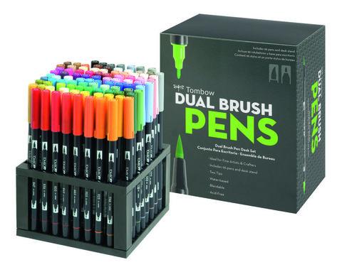 Набор маркеров Tombow ABT Dual brush pens в подставке-органайзере, 96 цветов.