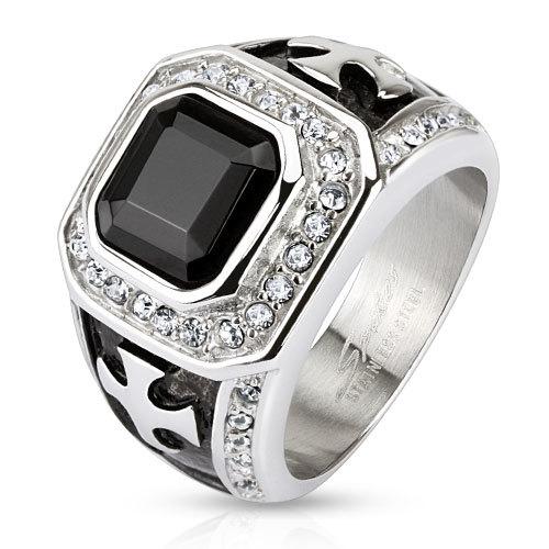 Перстень печатка с камнями мужской SPIKES R-H5598