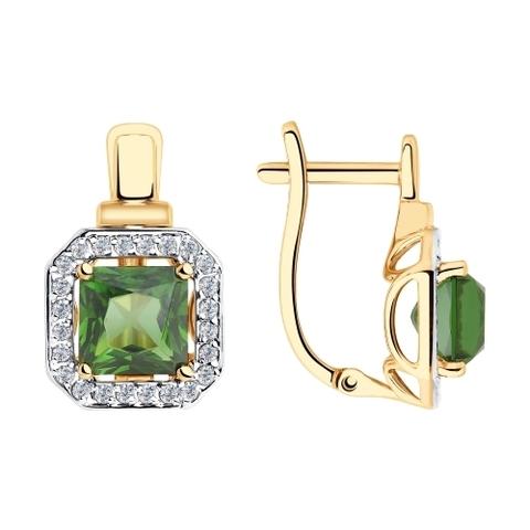 Серьги из золота с зелеными ситаллами и фианитами