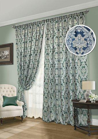 Комплект штор Эвита жаккард синий с подхватами и тюлем