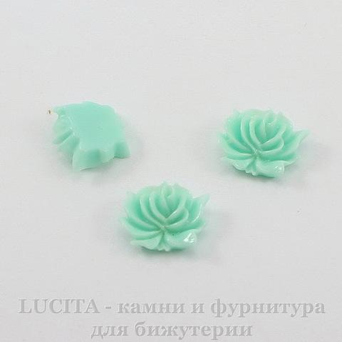 "Кабошон акриловый ""Дикая роза"", цвет - ментоловый, 12х10 мм, 5 штук"
