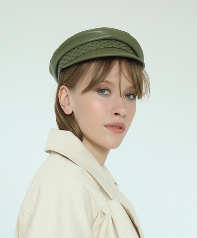 Кепка Leather Cap Olive