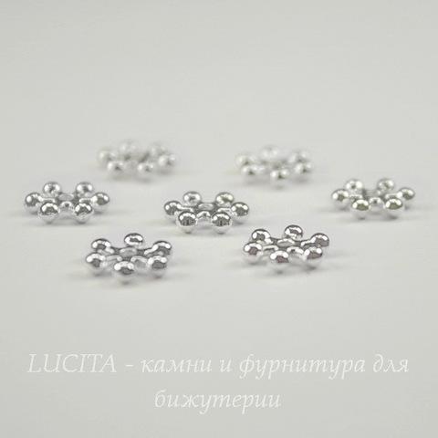"""Бусина металлическая - спейсер """"Снежинка"""" (цвет -  серебро) 8х2 мм, 10 штук"""