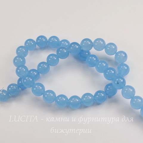 """Бусина Жадеит (тониров), шарик """"Голубой туман"""", 10 мм, нить"""