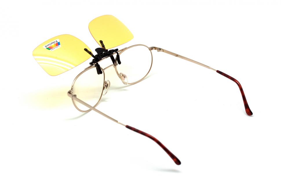 Клипон на очки Azuza с поляризацией Polarized желтые 85%