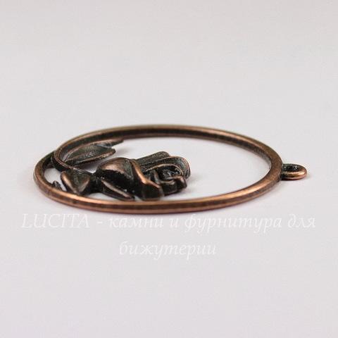 """Подвеска """"Роза в рамке"""" (цвет - античная медь) 36х34 мм"""