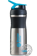 BlenderBottle SportMixer Stainless Steel, 828мл Шейкер из Нержавеющей Пищевой Стали черно-голубой 828 мл blender bottle.ru