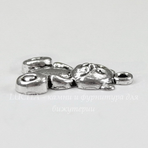 "Подвеска ""Медвежонок"" (цвет - античное серебро) 25х21 мм"
