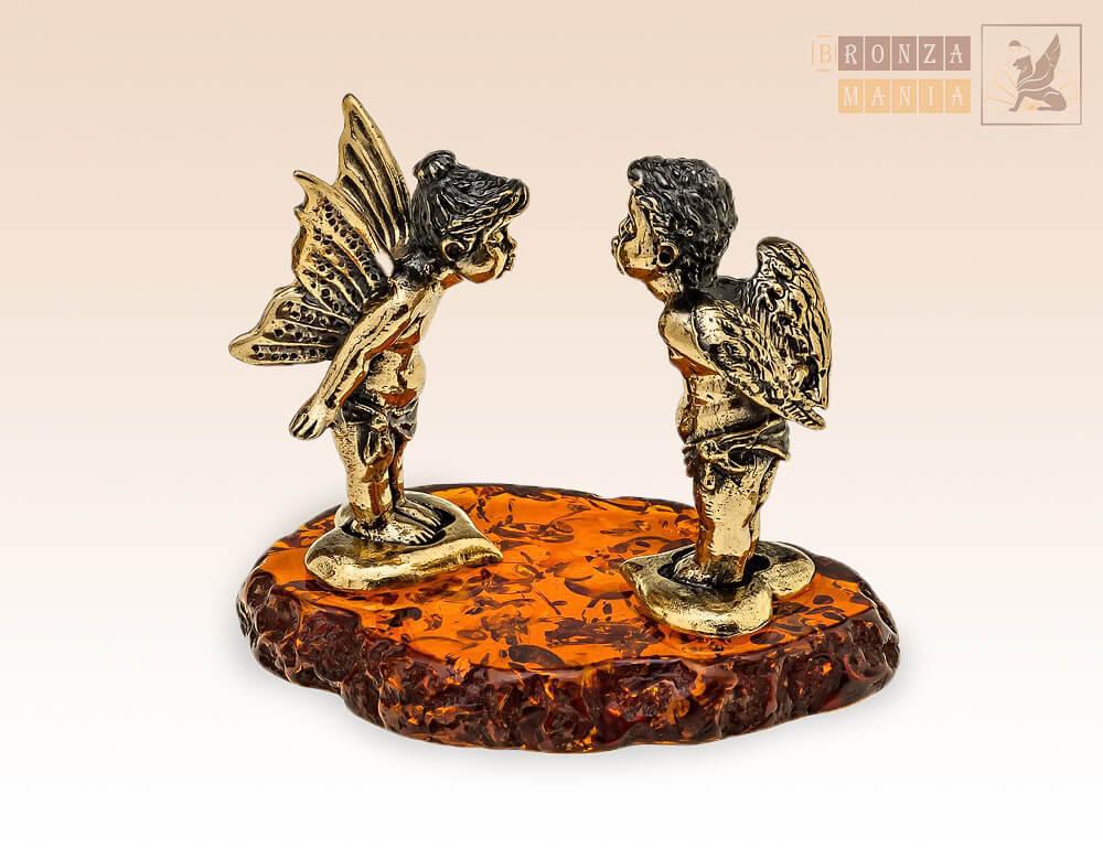 фигурка Ангелочки - Валентинки на янтаре