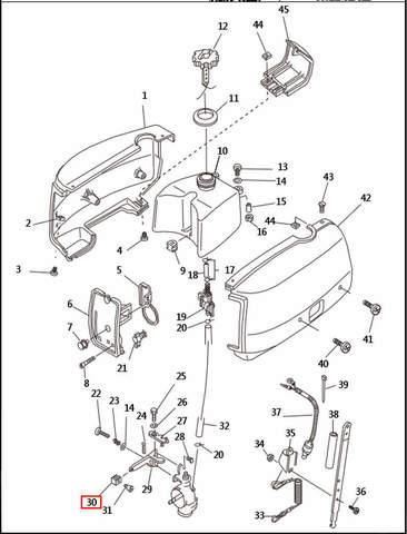 Ручка рычага газа  для лодочного мотора T2,5 SEA-PRO (1-30)
