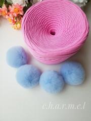 Помпон, кролик 5-6 см, цвет Голубой, 2 шт