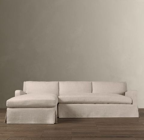 Belgian Slope Arm Slipcovered Left-Arm Sofa Chaise Sectional