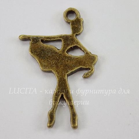 "Подвеска ""Балерина"" (цвет - античная бронза) 21х14 мм"