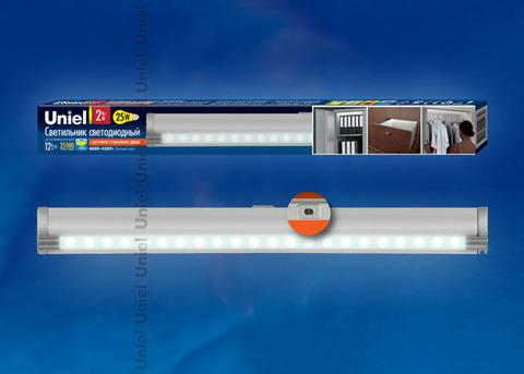 ULM-F02-2W/NW/OS IP20 SILVER SET1 картон Светодиодный светильник с датчиком открывания двери. Длина 27,5 см. Материал корпуса алюминий, цвет серебро. Белый свет. В комплекте с переходником и блоком питания.