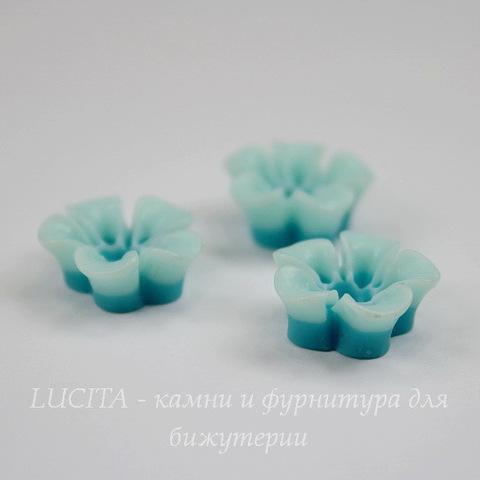 """Кабошон акриловый двухцветный """"Цветок"""", цвет - бирюзово-голубой, 14 мм"""