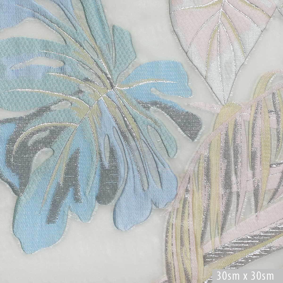 Жаккард с тропическими листьями на полупрозрачной основе