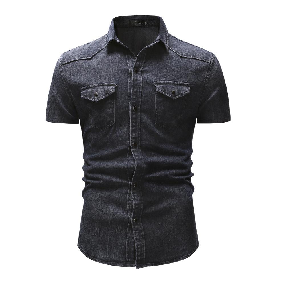 мужские рубашки Мужская джинсовая рубашка Slim Fit 10923974839_289076766.jpg