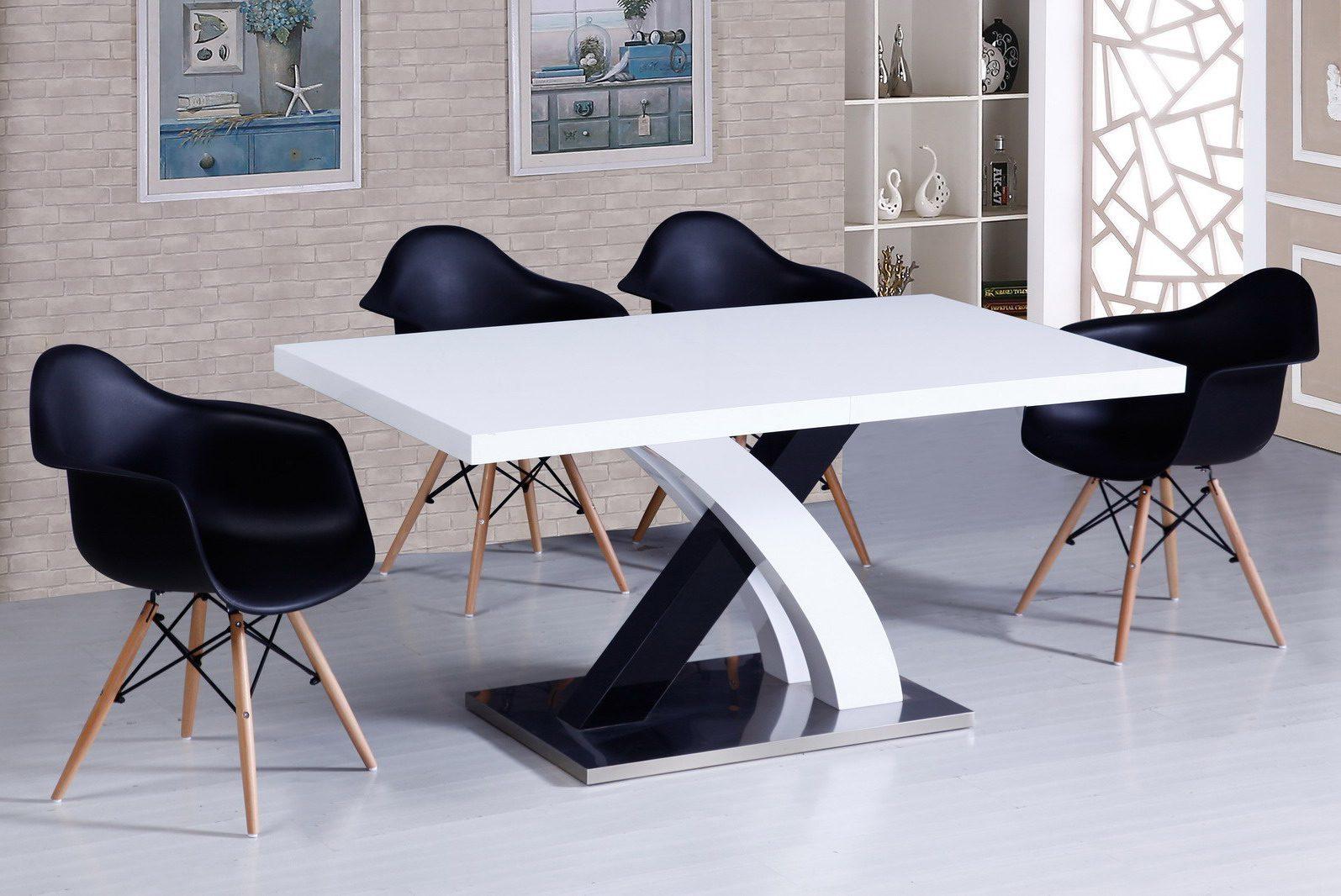 Стол ESF DT75 белый, стулья ESF 982 черный