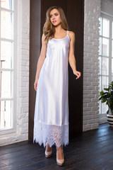 Длинное домашнее женское платье Evelin белого цвета