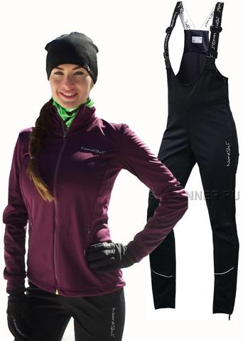 Женский утеплённый лыжный костюм Nordski Motion Purple/Black с высокой спинкой