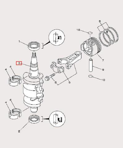 Коленвал для лодочного мотора F9,9 Sea-PRO (3-3)