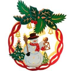 Световая фигура «Деревянный шар со снеговичком», LT068 (Feron)