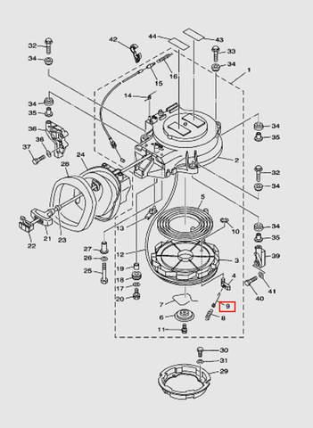 Пружина возвратная стопора-упора для лодочного мотора T40 Sea-PRO (7-9)