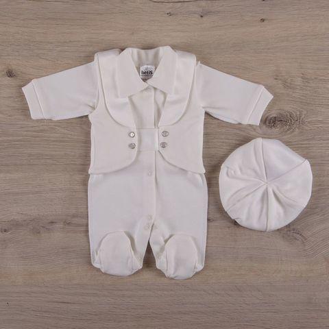 Нарядный костюмчик для мальчика с беретом айвори