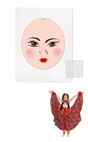 Фото Платковая кукла / Цыганка (лицо) рисунок Ткани и Наборы для пошива