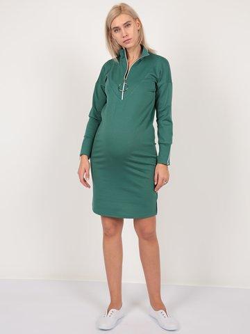 Евромама. Платье для беременных и кормящих трикотажное с молнией, изумрудный