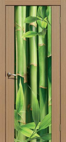 Дверь La Stella 303 фотопечать с одной стороны (Бамбук), фотопечать с одной стороны, цвет тиковое дерево, остекленная