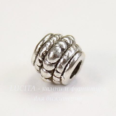 Бусина металлическая с узором 8х7 мм (цвет - античное серебро), 10 штук