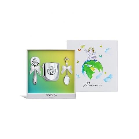 Подарочный набор для малыша Ангел (погремушка+ложка+кружка) от SOKOLOV Baby