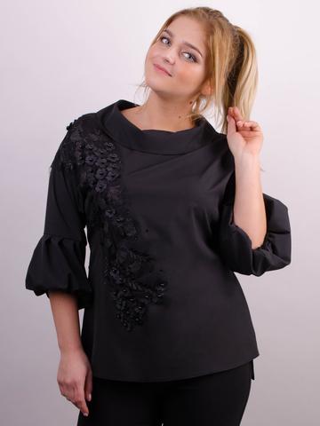 Милана. Стильная блуза больших размеров. Черный.
