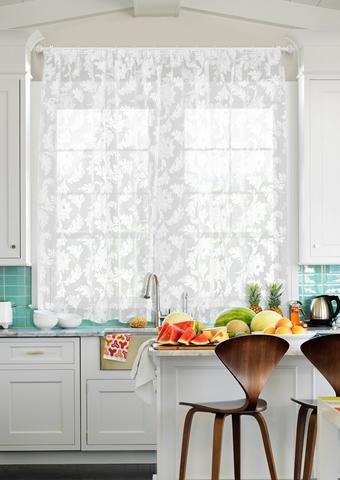 Готовая штора для кухни органза деворе Гардения белый