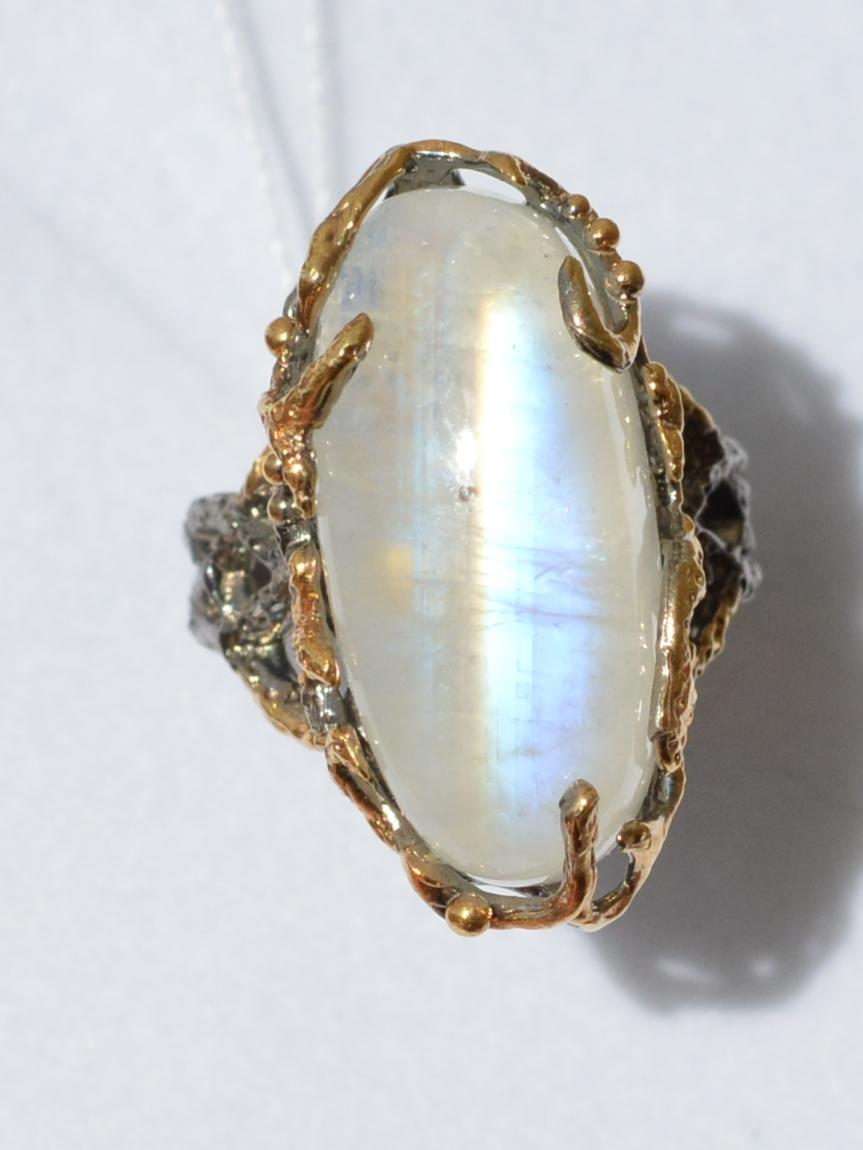 Лунник овал (серебряное кольцо с позолотой)