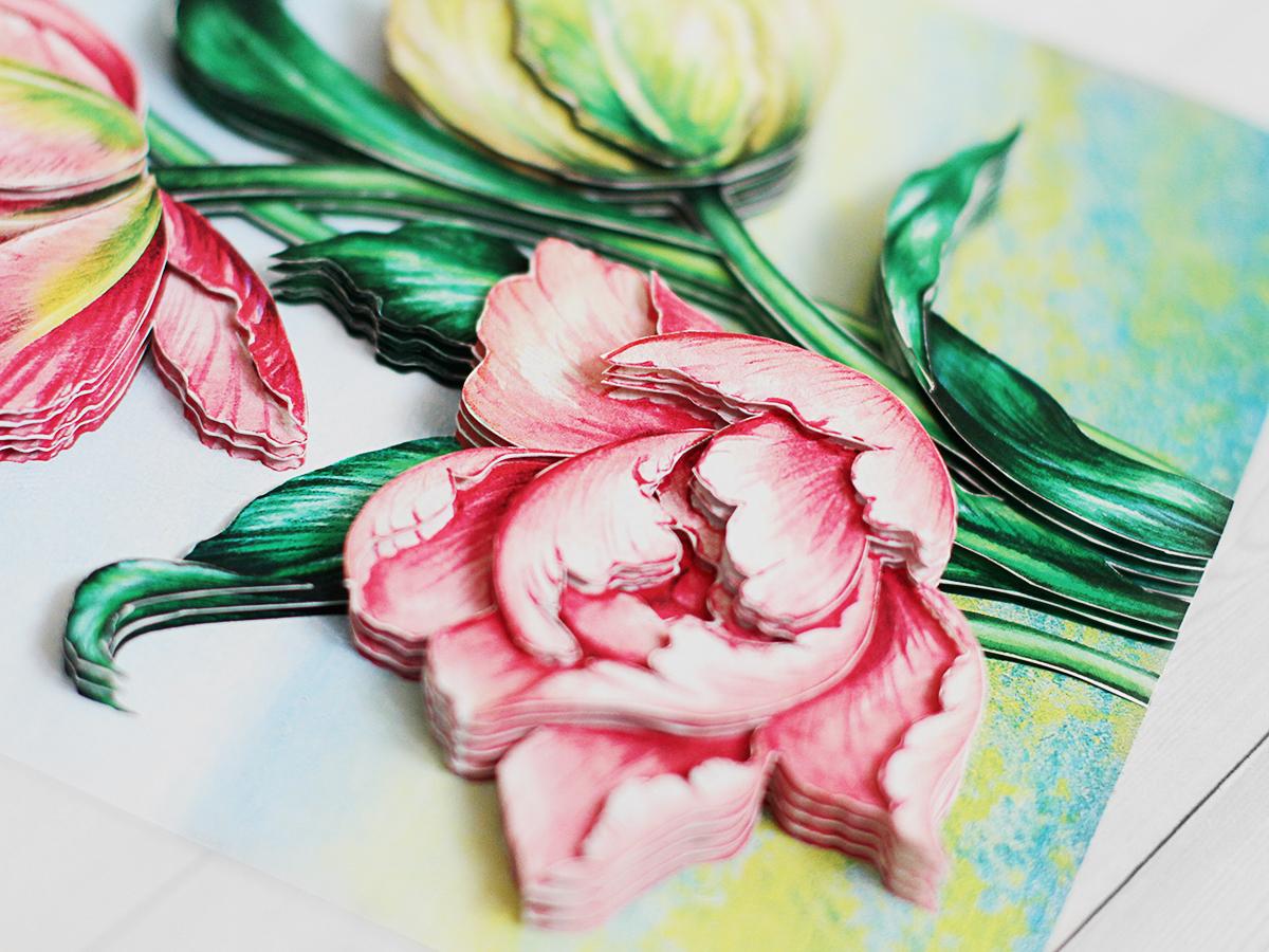 Папертоль Весенние тюльпаны - готовая работа, детали