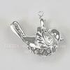 """Подвеска """"Воробей"""" 3D (цвет - серебро) 24х19х10 мм"""