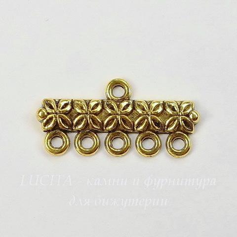 Коннектор (1-5) 25х12 мм (цвет - античное золото)