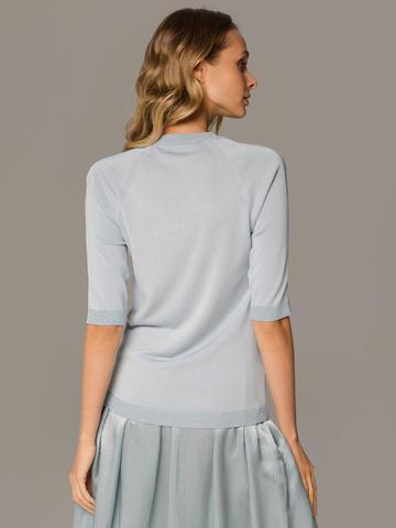 Женский лаконичный джемпер голубого цвета с укороченным рукавом - фото 2