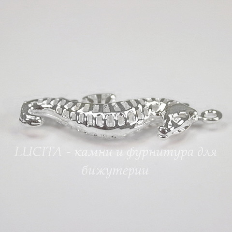"Подвеска ""Морской конек"" (цвет - серебро) 32х11 мм"
