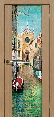 Дверь La Stella 303 фотопечать с двух сторон (Венеция), фотопечать с двух сторон, цвет тиковое дерево, остекленная