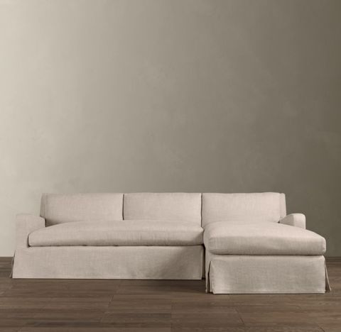 Belgian Slope Arm Slipcovered Right-Arm Sofa Chaise Sectional