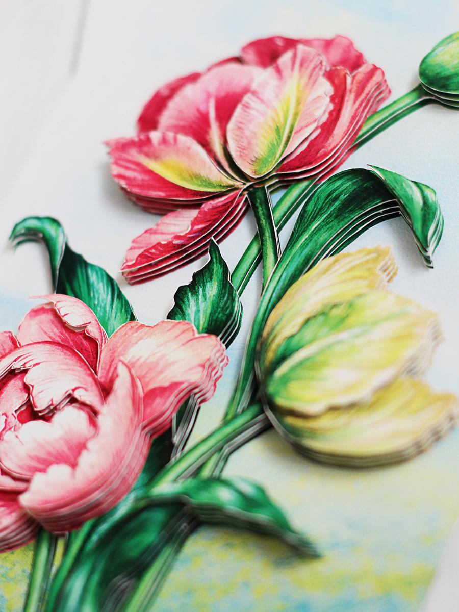 Папертоль Весенние тюльпаны - готовая работа, вид снизу